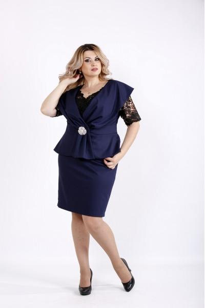 Темно-синий комплект: платье и жакет без рукавов | 0914-2
