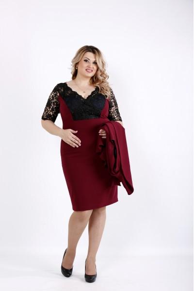 Нарядный бордовый комплект - двойка: платье и жакет | 0914-3