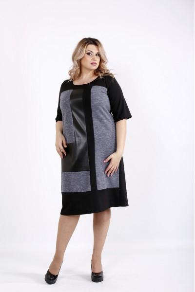 Черное комбинированное платье   0922-1