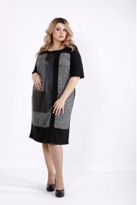 Темное трикотжное платье с эко-кожей | 0922-3