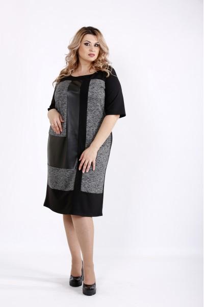 Темное трикотжное платье с эко-кожей   0922-3