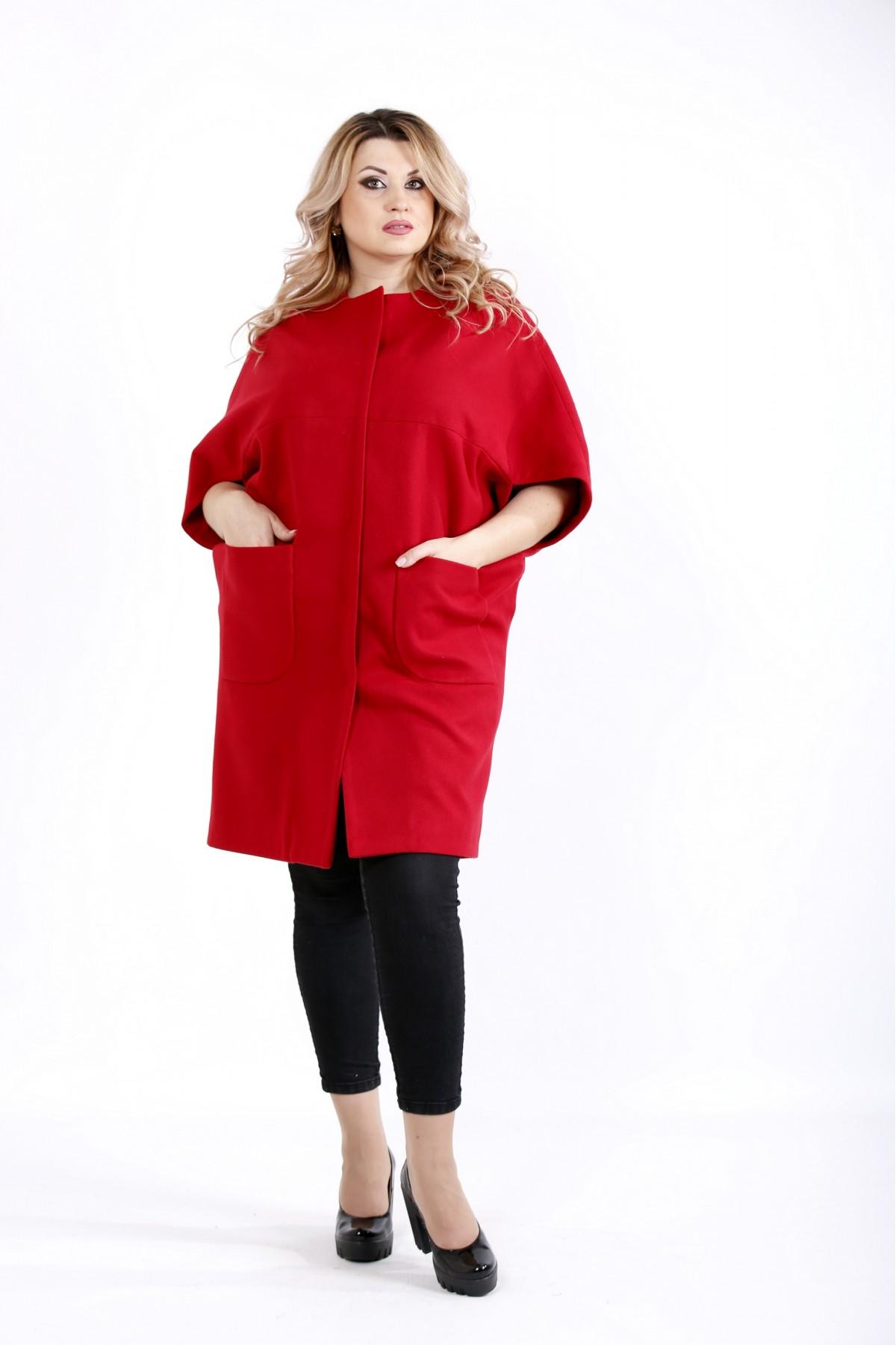 Красное демисезонное пальто из кашемира | t0913-1