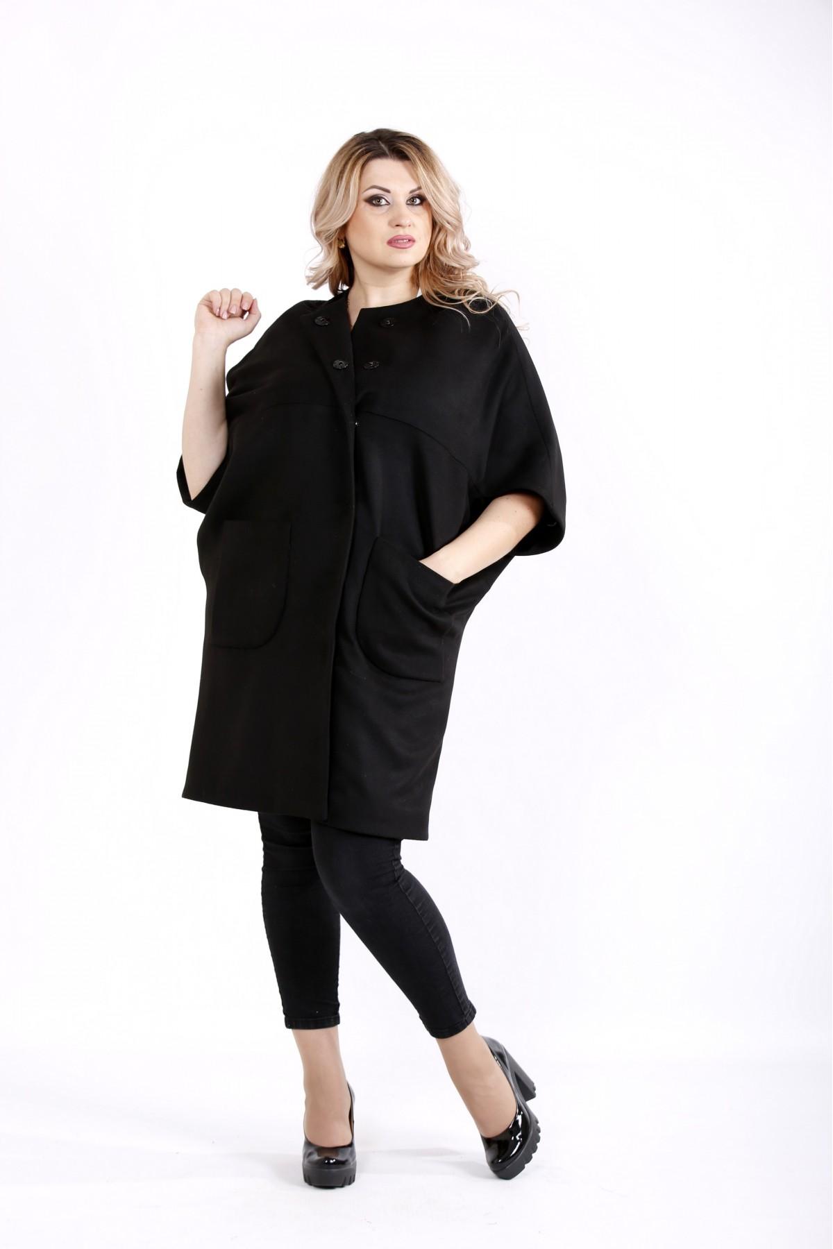 Черное осеннее кашемировое пальто | t0913-2