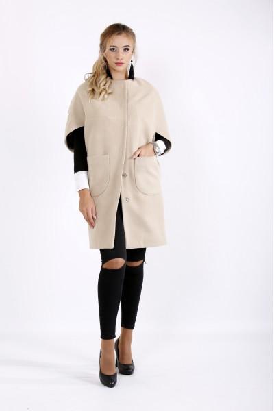 Кашемировое пальто песочного цвета | t0913-3