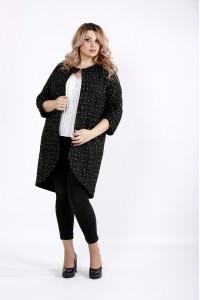 Модное черное пальто с белыми точками | t0920-2