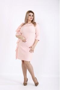 Пудровое платье с шифоновой вставкой | 0930-1