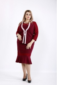 Бордовый костюм: платье и жакет | 0933-1