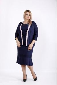Синий комплект: платье и жакет | 0933-2