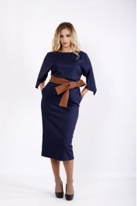 Синее платье ниже колена | 0935-1