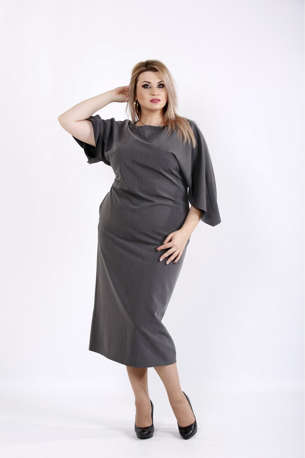 Серое платье миди | 0935-3