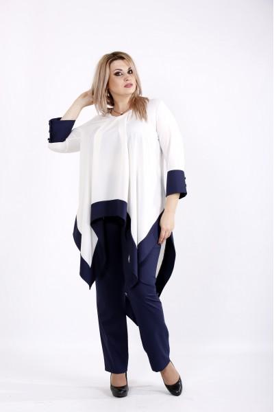 Модный синий с белым костюм | 0937-2