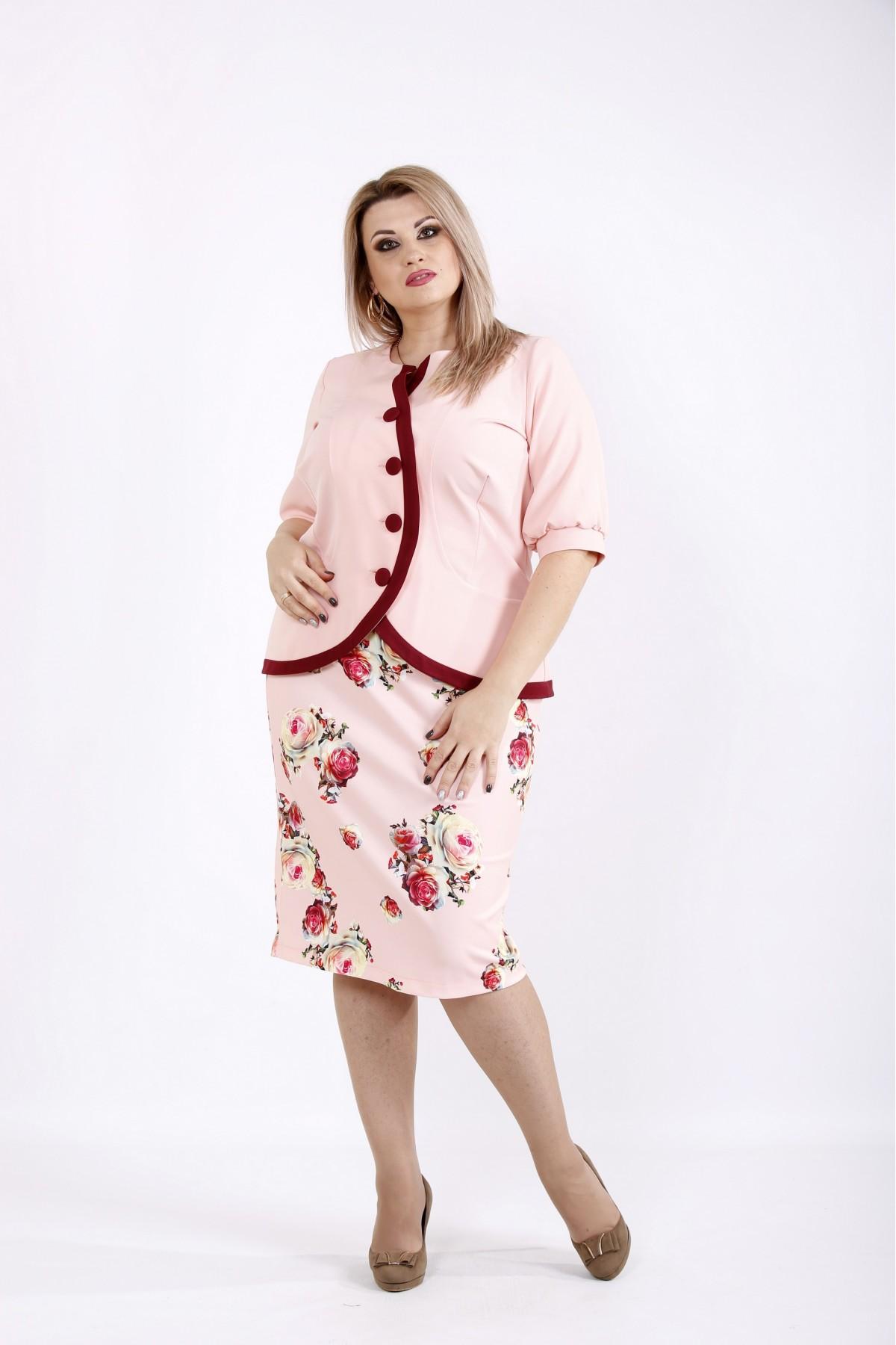 Розовый костюм с цветами | 0940-3