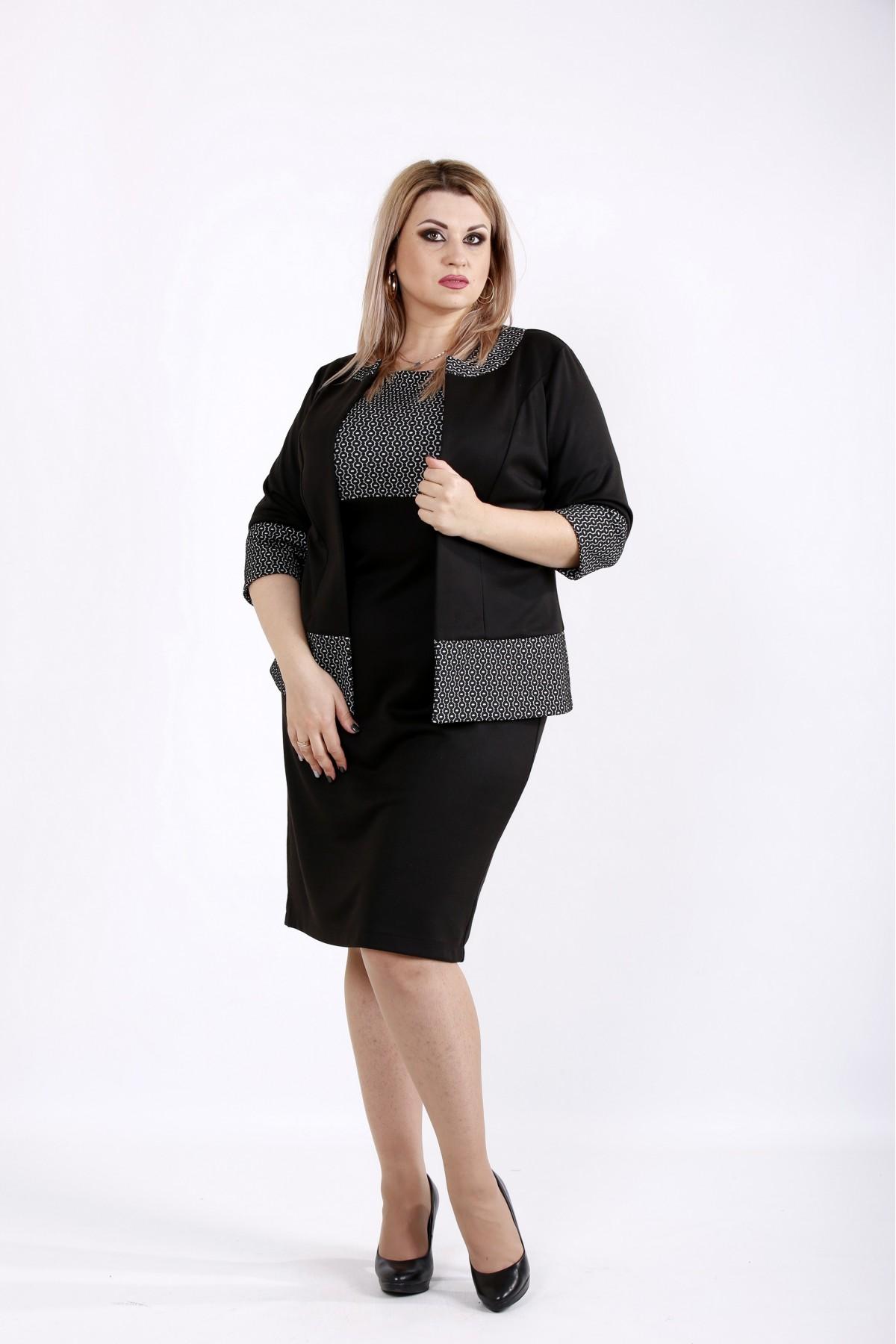 Черный костюм с белым узором | 0941-2