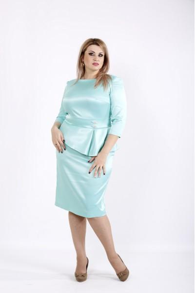 Мятное платье из атласа | 0943-2