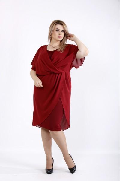 Бордовое платье из масла и шифона | 0944-1