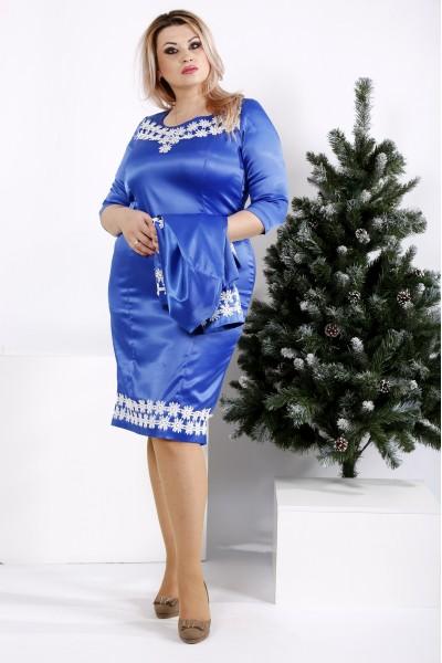0942-3 | Комплект: платье и жакет, цвет электрик