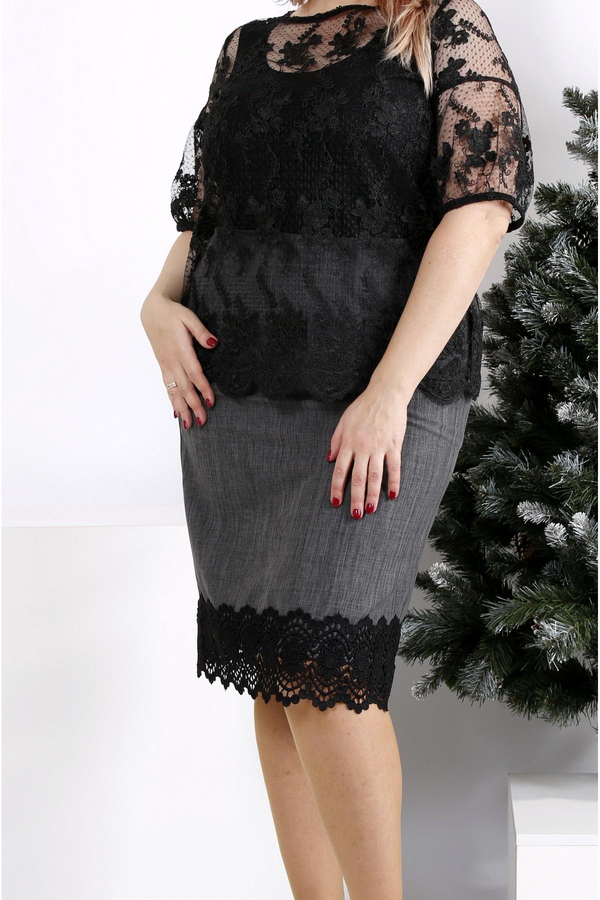 0953-1   Серая юбка с кружевом