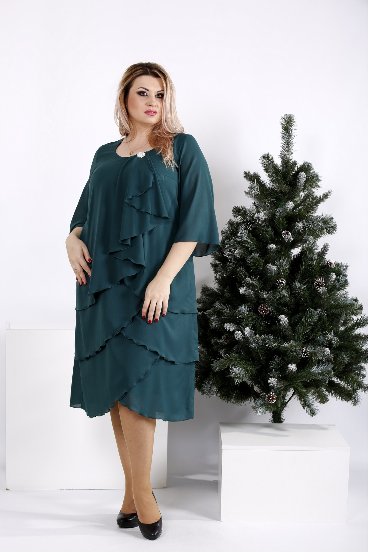 0959-2 | Зеленое платье свободного кроя