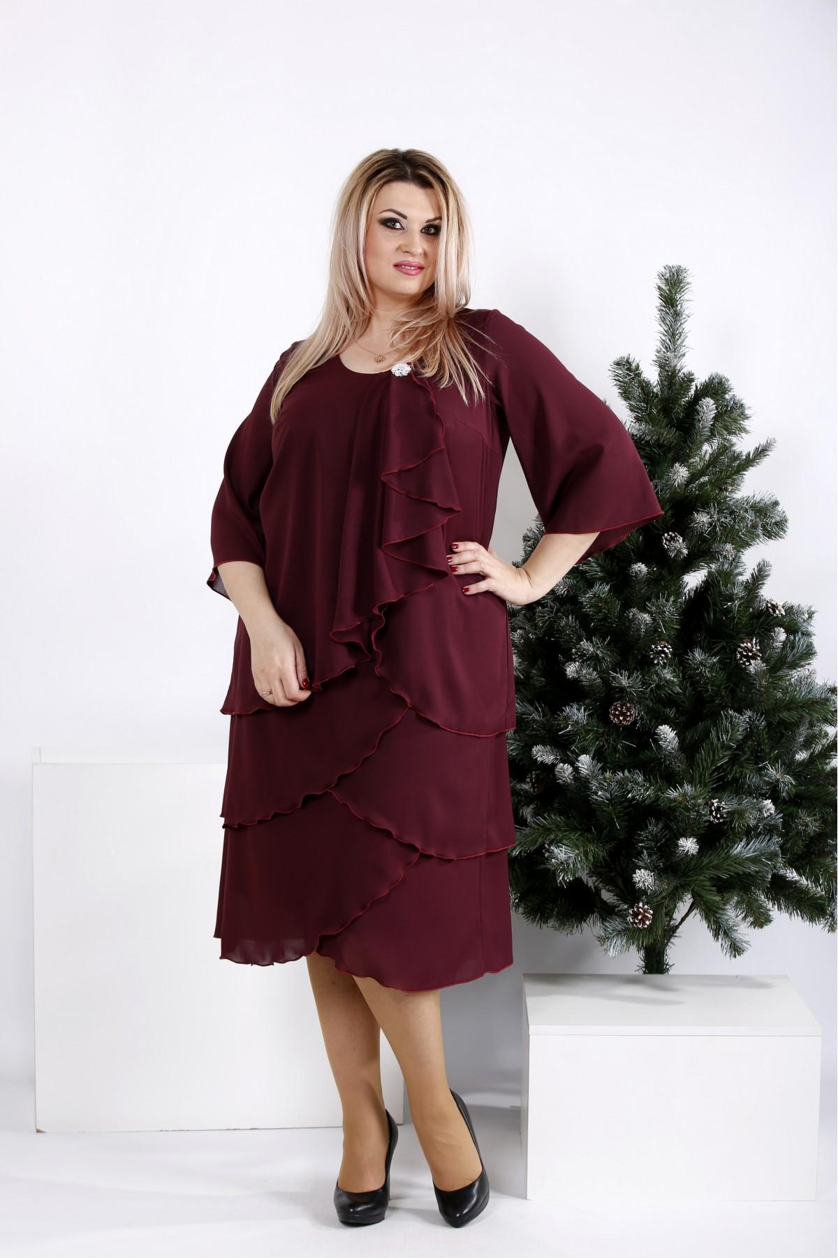 0959-3   Бордовое свободное платье из креп-шифона