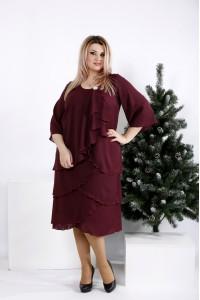 0959-3 | Бордовое свободное платье из креп-шифона