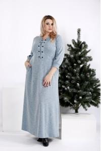 0964-3 | Бирюзовое длинное платье из ангоры