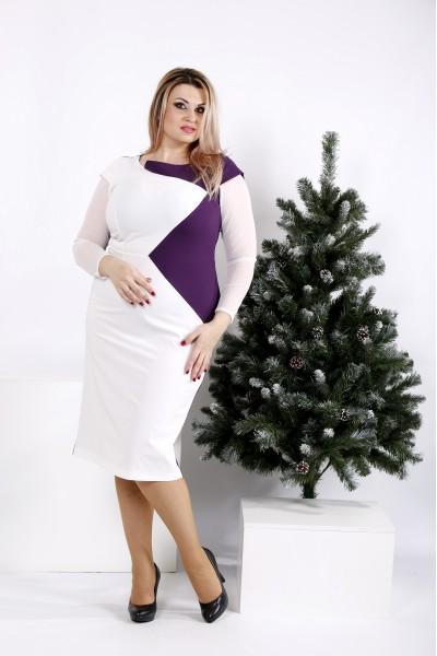 0968-3 | Платье светлое с баклажановым - последний 56р