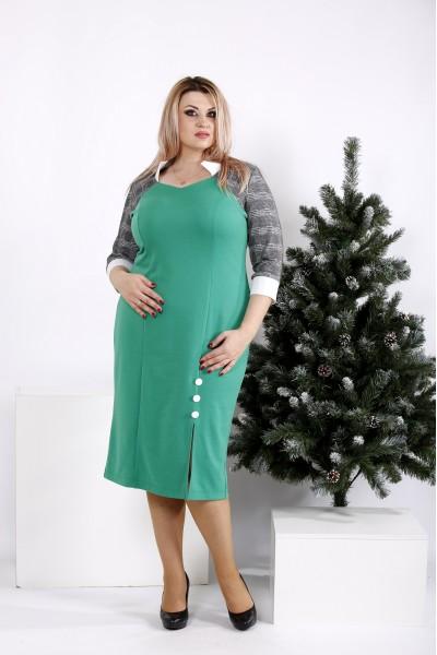 0969-2 | Зеленое платье до колена - последний 56р