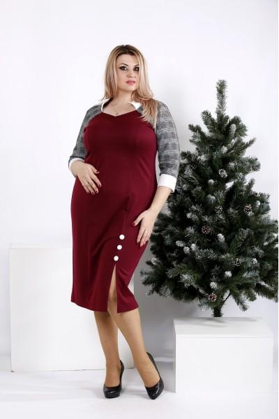 0969-3 | Бордовое платье с серыми рукавами - последний 56р
