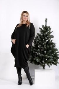 0971-1 | Черное свободное платье-мешок