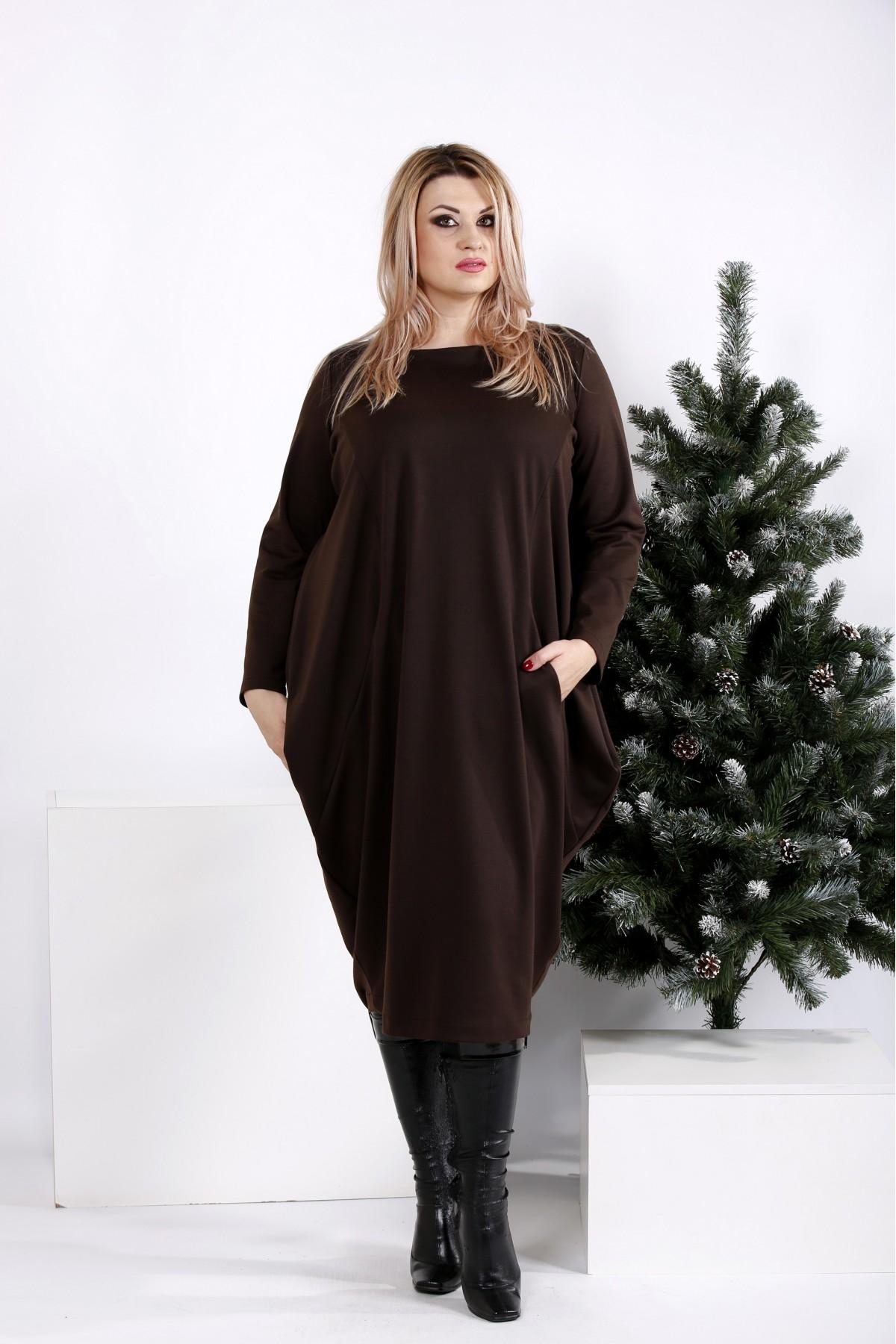 0971-2 | Шоколадное свободное платье