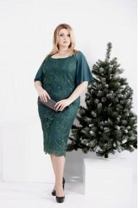 0973-2 | Зеленое платье с вышивкой и съемной юбкой