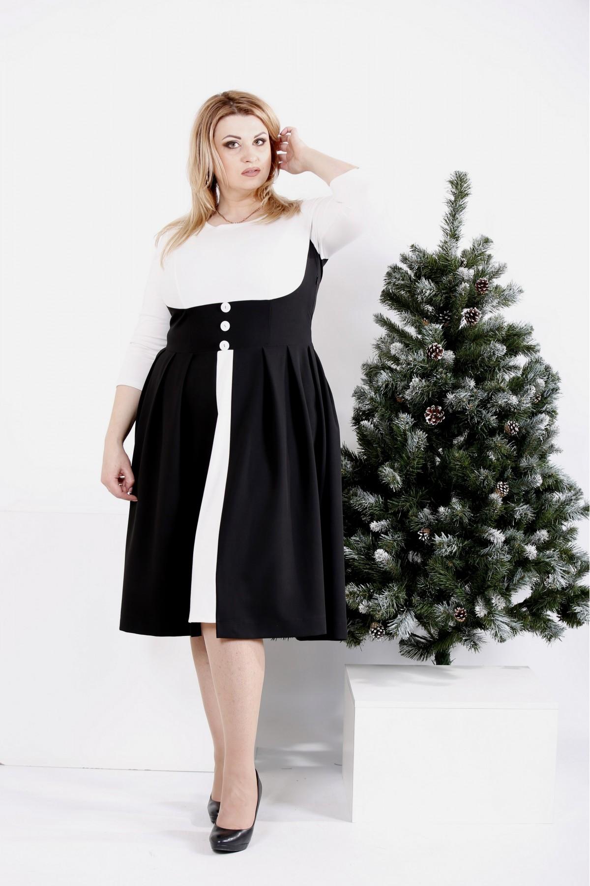 0980-1 | Черное-белое платье с пышной юбкой