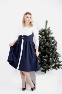 0980-2 | Белое с синим платье с расклешенной юбкой