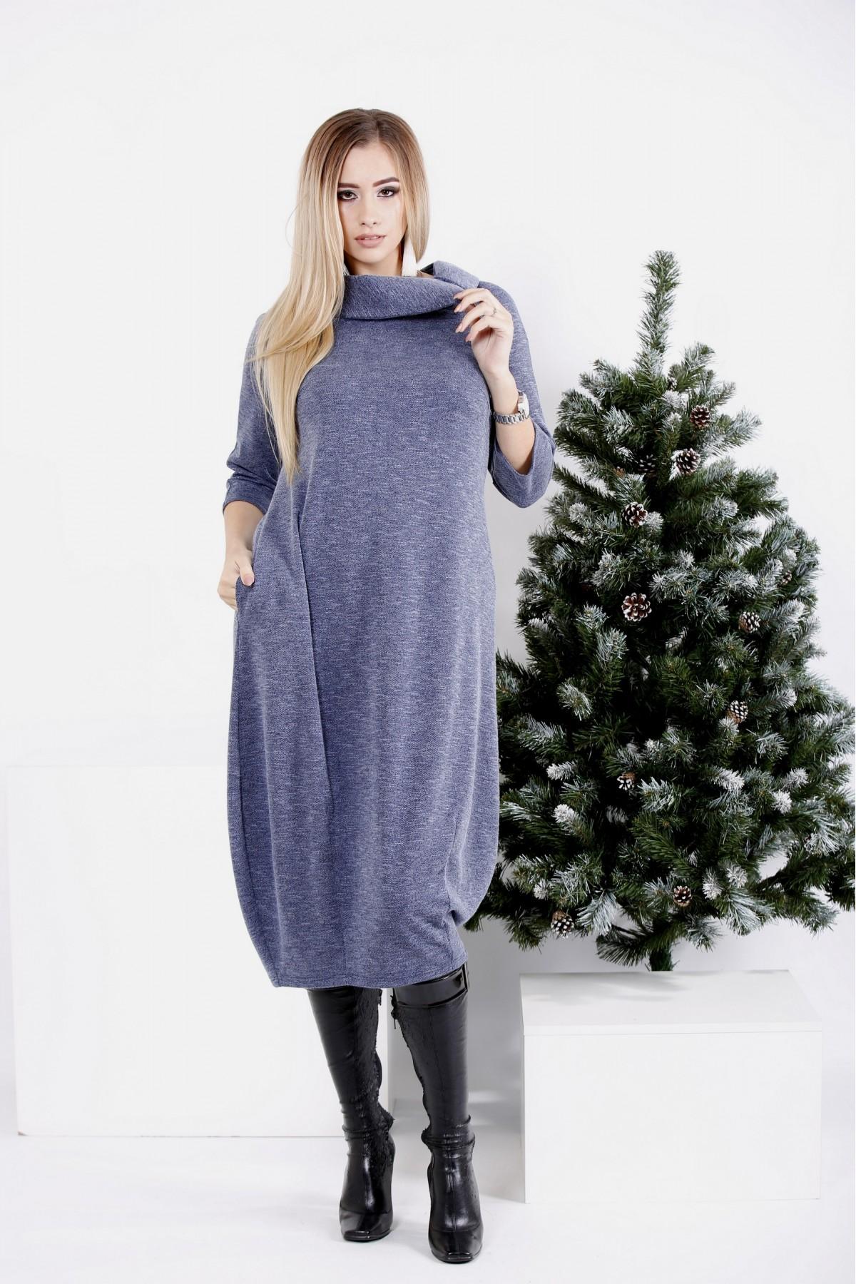0981-3 | Синее осенне-зимнее платье-мешок
