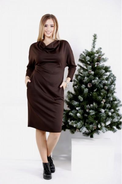0985-1 | Шоколадный комплект: платье и накидка