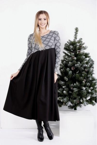 0986-1 | Черное длинное платье-клеш