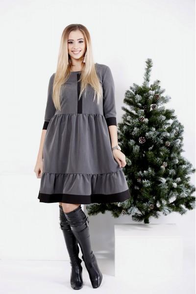 0988-2   Серое оригинальное платье с отрезной талией