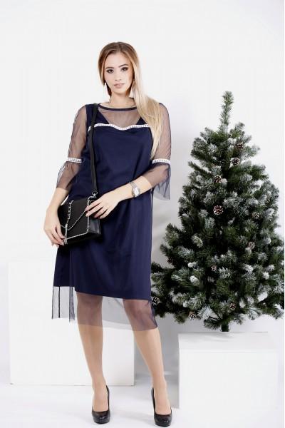 0989-1 | Синее трикотажное платье с сеткой - последний 48р