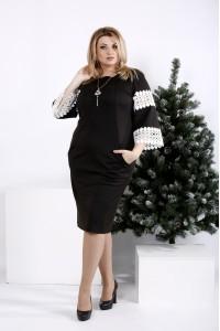 0990-1 | Черное платье с белым кружевом
