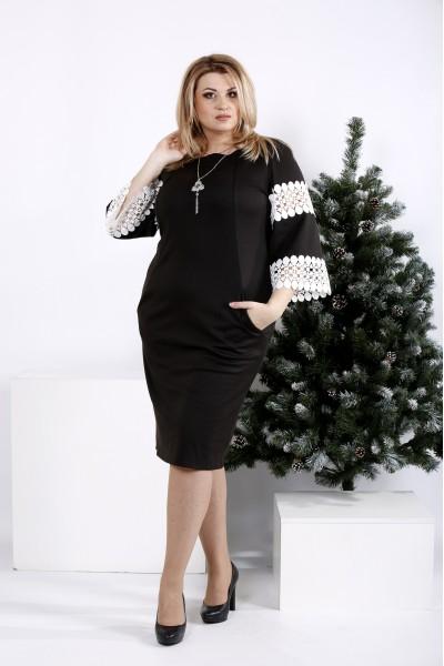 0990-1   Черное платье с белым кружевом