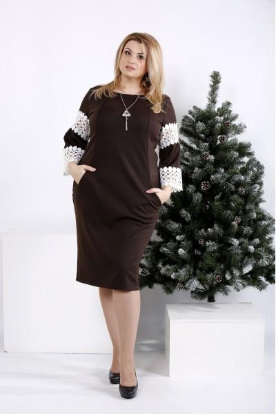 0990-2 | Шоколадное платье с кружевом на рукавах