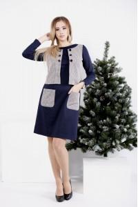 0994-1 | Синее платье с имитацией жилетки