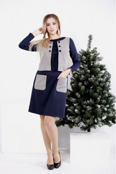 0994-1 | Синее платье с имитацией жилетки - последний 48р