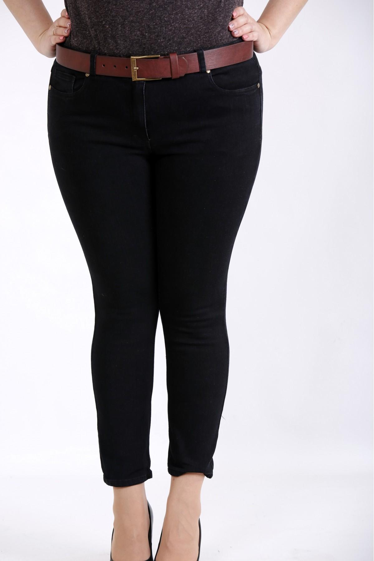 j043-3   Черные стрейчевые джинсы (без ремня)