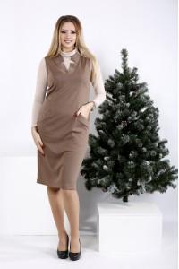 01000-1 | Бежевое стильное платье из трикотажа (на блузке 01001-1)