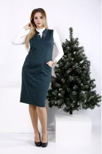 01000-3 | Зеленое платье с вырезом (на блузке 01001-3)