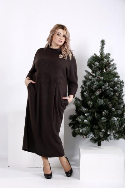 01005-3 | Платье из ангоры шоколадного цвета