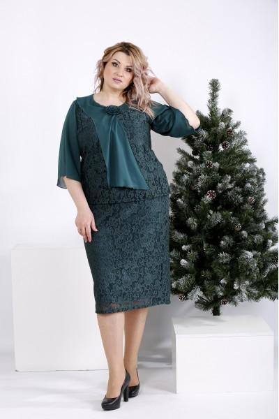 01007-3 | Нарядное зеленое платье из гипюра - последний 54р