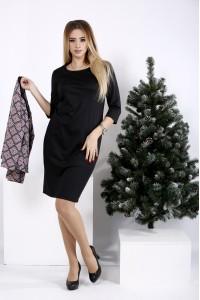 01010-1 | Деловой костюм: черное платье и пиджак