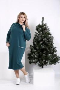 01011-2 | Прямое зеленое платье с воротником